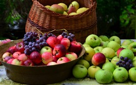 Harvest, green and red apples, grapes, water droplets, fruits