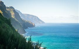 Hawaii, sea, mountains, sunshine
