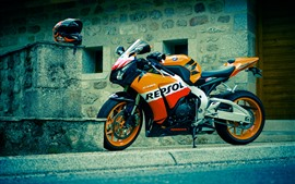 Preview wallpaper Honda CBR motorcycle, street