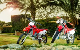 Preview wallpaper Honda motorcycles, stones, trees