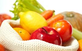 Limón, manzana, tomate, naranja
