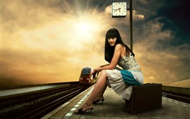 Preview wallpaper Long hair girl, rail station, suitcase, clock, tram