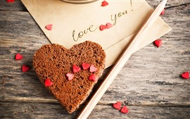 Preview wallpaper Love heart, chocolate cake, letter