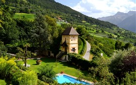 Preview wallpaper Mountains, countryside, slope, house, swimming pool, green