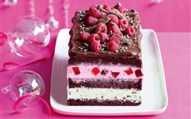 Preview wallpaper One piece chocolate cake, raspberry