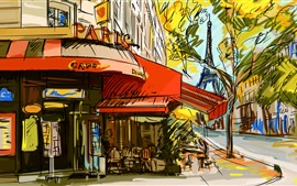 Paris, cafe, dibujo, arte