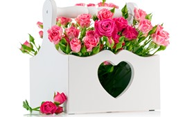Preview wallpaper Pink roses, box, love heart