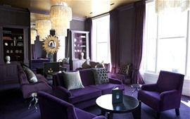 Purple style living room, sofa, lights, windows