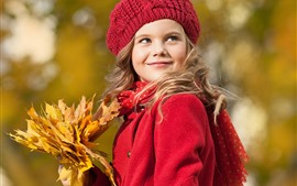 Preview wallpaper Red coat girl, smile, hat, maple leaves