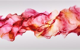 Red silks, flying, abstract