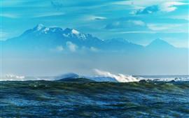 바다, 물, 산, 하늘, 구름