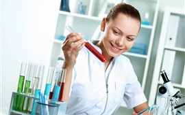 Preview wallpaper Smile girl, chemist, test tube, microscope