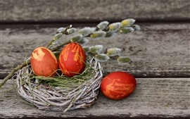 Preview wallpaper Three red eggs, Easter, nest