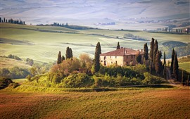 Preview wallpaper Tuscany, countryside, trees, houses, fields, summer, Italy