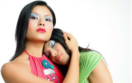 Preview wallpaper Two asian girls, colorful makeup