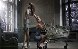 Preview wallpaper Two fashion girls, cart