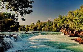 미리보기 배경 화면 폭포, 강, 나무, 자연 풍경