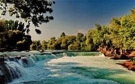 Waterfall, river, trees, nature scenery