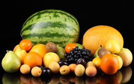 Preview wallpaper Watermelon, melon, oranges, kiwi, grapes, pears, peach