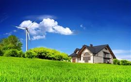 Ветряная мельница, домик, зеленая трава, голубое небо, облака, лето