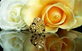 Preview wallpaper Yellow roses, petals, love heart