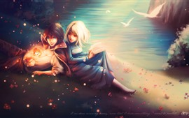 Preview wallpaper Young boy and girl, happy, book, lake, birds, shine, art picture
