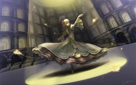 Preview wallpaper Beautiful dancing girl, blonde, fantasy, art picture