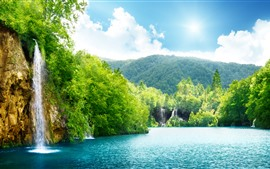 Beautiful waterfall, lake, trees, mountain, green, summer