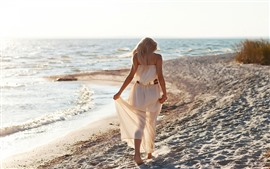 Preview wallpaper Blonde girl, back view, walk on beach, sea