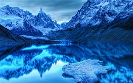 Blue style, mountains, lake, clear water, water reflection, snow, dusk