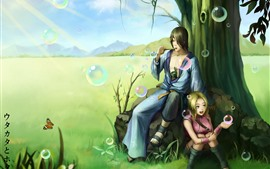 Preview wallpaper Boy and girl, bubble, art picture