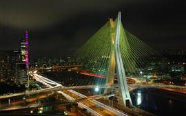 Бразилия, ночь, мост, город, огни