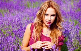 Preview wallpaper Brown hair girl, lavender flowers