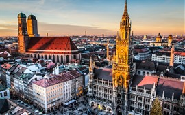 Preview wallpaper City, Munich, Germany, buildings, street, dusk