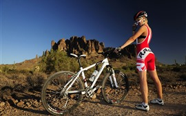 Preview wallpaper Girl, bike, sport, sunshine