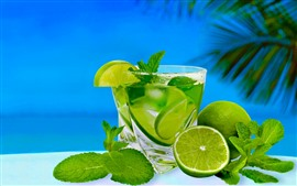 Green lemon, lime, cocktail, drinks, sea, tropical