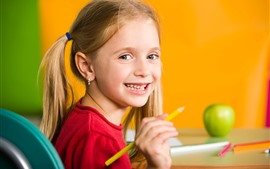 Preview wallpaper Happy little girl, smile, pencil, child