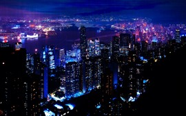 Hong Kong at night, skyscrapers, lights, city