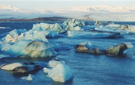 Айсберг, лед, море, горы, холод