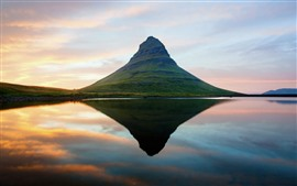Iceland, mountain, water reflection, lake