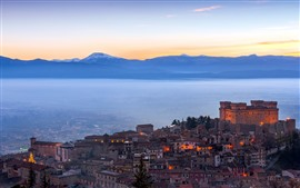 Preview wallpaper Italy, castle, city, morning, lights, fog