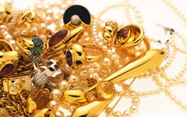 Preview wallpaper Jewelry, gold, ring, pearl