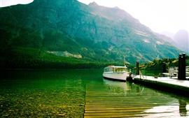 Озеро, лодка, пирс, горы, вода