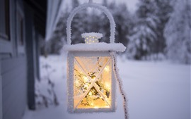 Light, lantern, snow, frost, winter
