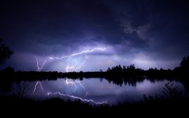 Preview wallpaper Lightning, lake, storm