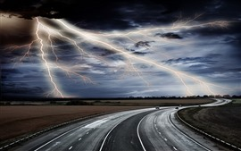 Preview wallpaper Lightning, road, storm, clouds
