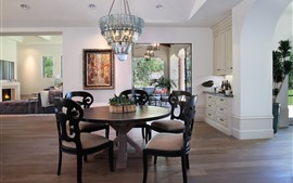 Sala de estar, mesa, cadeiras, luzes, sofá, lareira, interior
