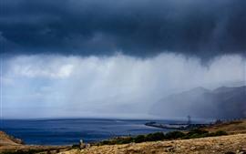 Madeira, portugal, mar, costa, montanhas, nuvens