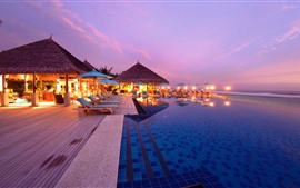 Maldives, resort, night, lights, pool, sea