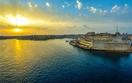 Malta, Valletta, puerto, puesta de sol, nubes, mar, ciudad